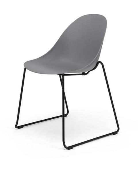 Le Bonom Súprava 2 sivých jedálenských stoličiek s čiernym podnožím Le Bonom Viva