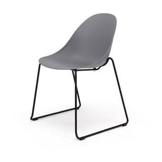 Súprava 2 sivých jedálenských stoličiek s čiernym podnožím Le Bonom Viva