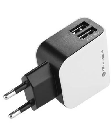 Nabíjačka do siete Gogen ACH 200, 2x USB, 2,1A čierna/biela