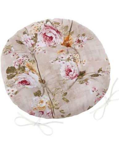Bellatex Sedák Ema okrúhly prešívaný Kvety, 40 cm
