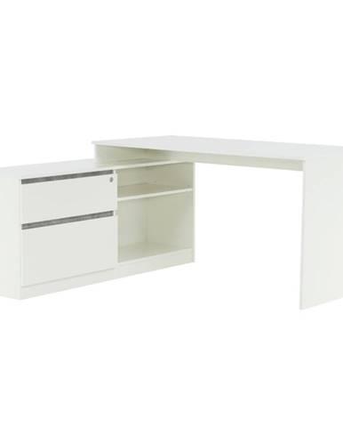 Rohový PC stôl biela/betón BENTOS