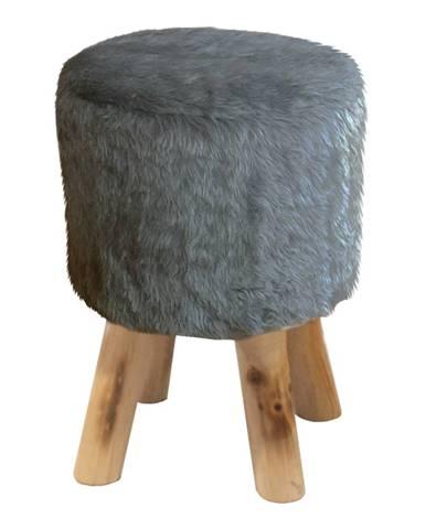 Taburet sivá kožušina/borovica ALPIA