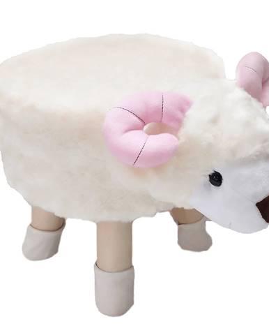 Taburet v tvare ovečky látka Velvet biela/ružová/prírodná LOLA