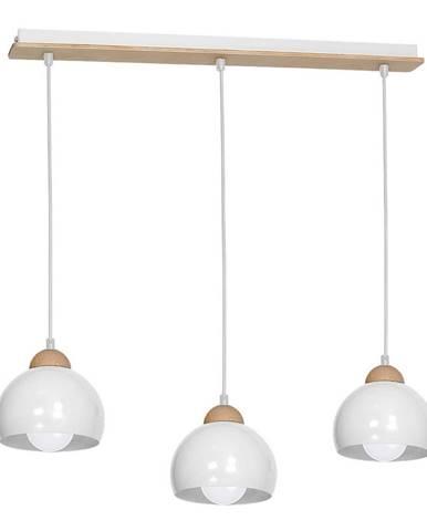 Biele závesné svietidlo s drevenými detailmi Dama Tres