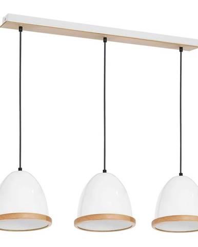 Biele závesné svietidlo s drevenými detailmi Studio Tres