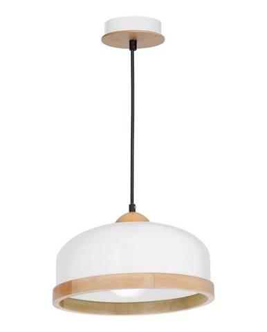 Biele závesné svietidlo s drevenými detailmi Studio Uno
