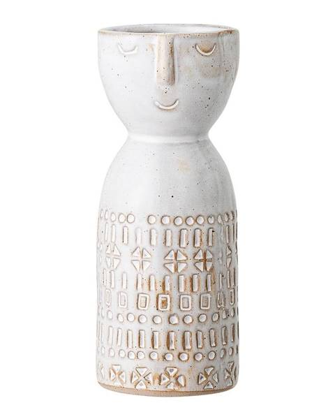 Bloomingville Biela váza z kameniny Bloomingville Geometric