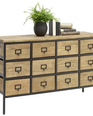 Landscape KOMODA, recyklované drevo, brest, prírodné farby, čierna, 127/80/42 cm - prírodné farby, čierna