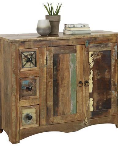 Landscape KOMODA, recyklované drevo, viacfarebná, 110/85/40 cm - viacfarebná