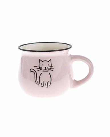 Keramický hrnček Mačka 370 ml, ružová