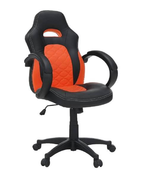 Kondela Kancelárske kreslo ekokoža čierna/oranžová NELSON