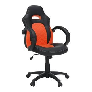 Kancelárske kreslo ekokoža čierna/oranžová NELSON