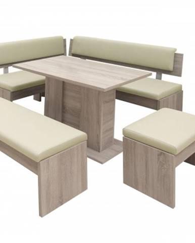 Jedálenský set Elinor - rohová lavica, stôl,2x taburetka
