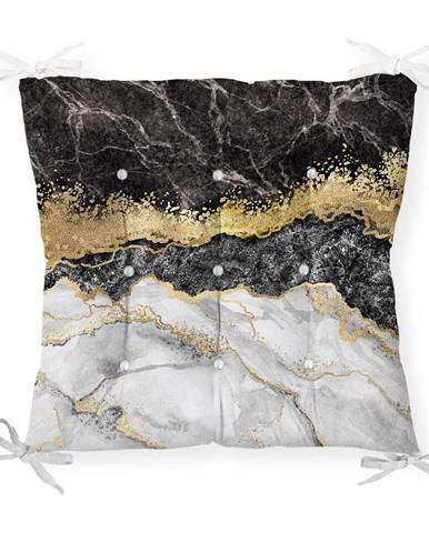 Sedák na stoličku Minimalist Cushion Covers Black Gold Marble, 40 x 40 cm
