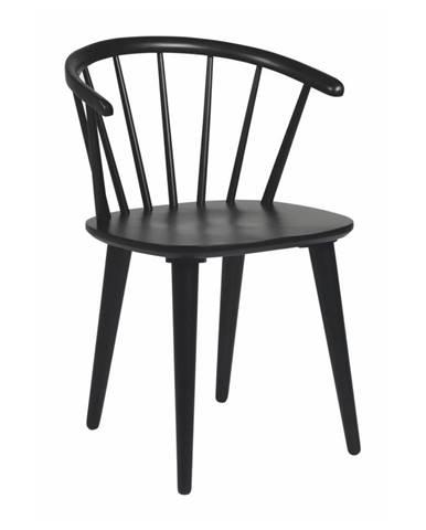 Čierna jedálenská stolička z dreva kaučukovníka Rowico Carmen