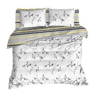 Obliečky s plachtou na dvojlôžko z ranforce bavlny Mijolnir Pavlina White, 160 × 220 cm