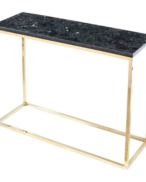 RGE Čierny žulový konzolový stolík s podnožím v zlatej farbe, dĺžka 100 cm