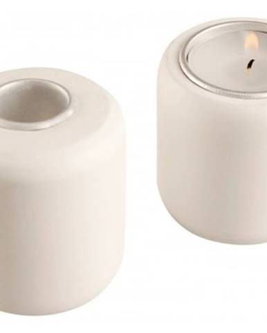 Svietnik obojstranný, biely, výška 7 cm%