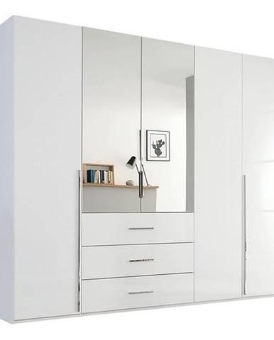 Šatníková skriňa COLIN alpská biela/vysoký lesk, 5 dverí, 2 zrkadlá
