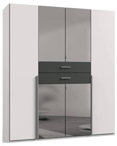 Šatníková skriňa DECLAN biela/grafit, 180 cm, 4 zrkadlá