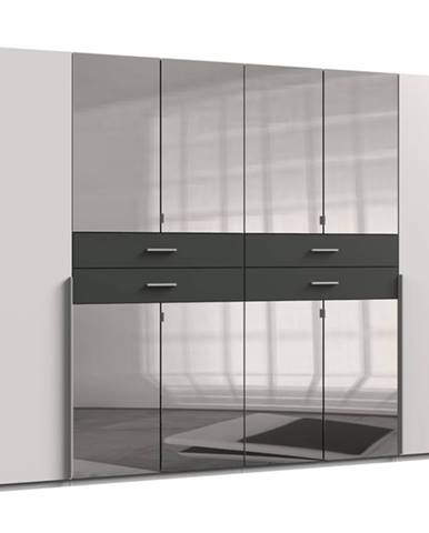 Šatníková skriňa DECLAN biela/grafit, 270 cm, 8 zrkadiel