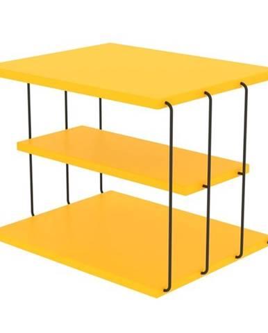 Prístavný stolík TLOS LIFON žltá/čierna