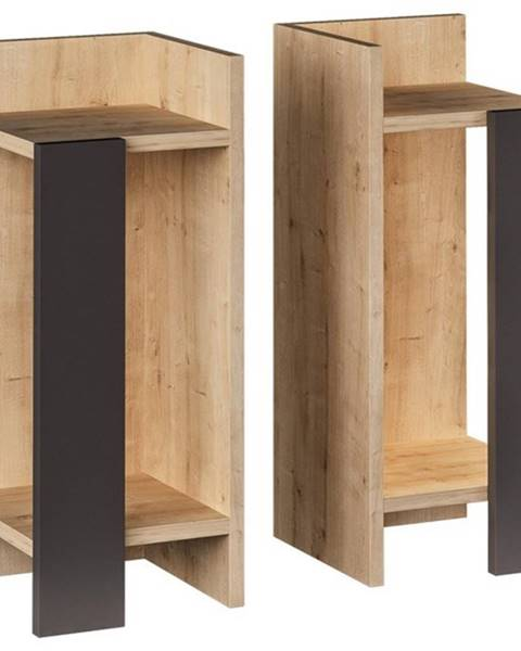 Sconto Nočný stolík ELOS dub/antracit, sada 2 kusov