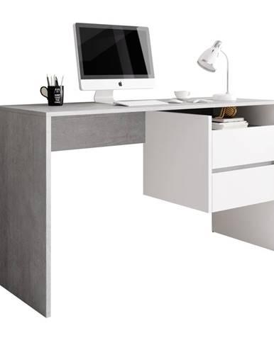 PC stôl betón/biely mat TULIO