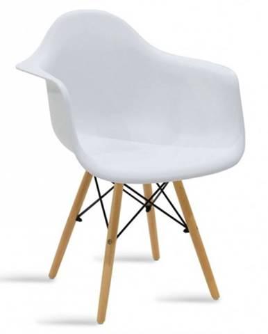 Jedálenská stolička Justy dub, biela
