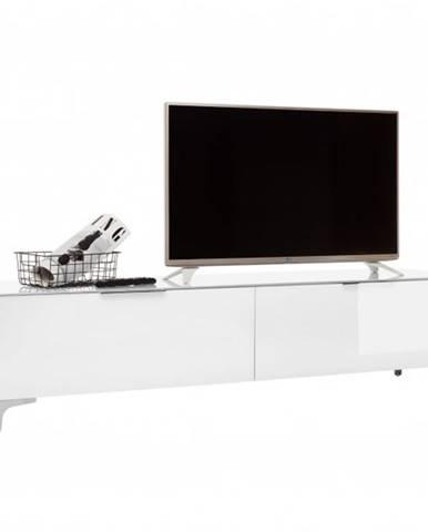 TV stolík BENTLEY biela matná/biele sklo, hĺbka 45 cm