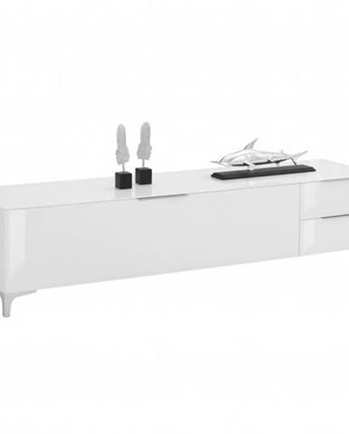 TV stolík BENTLEY biela matná/biele sklo, šírka 181 cm