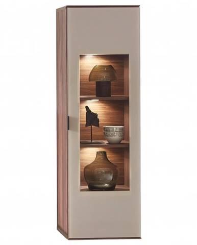 Nástenná vitrína ZENO orech amber/satinované sklo farba čadič