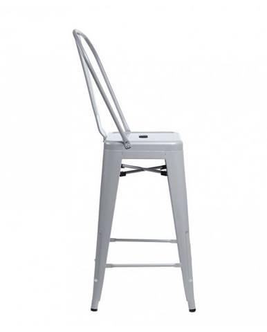 ArtD Barová stolička Paris Back inšpirovaná Tolix sivá