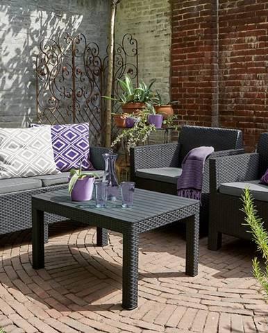 ArtRoja ORLANDO + SMALL TABLE - grafit + sivé podušky