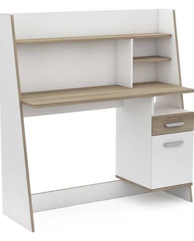 Písací stôl BUALY dub/biela
