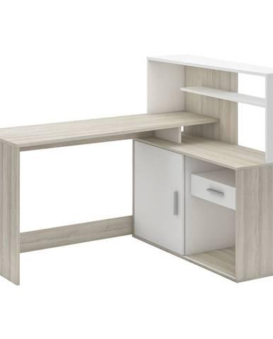 Písací stôl rohový BRICE dub/perleťovo biela