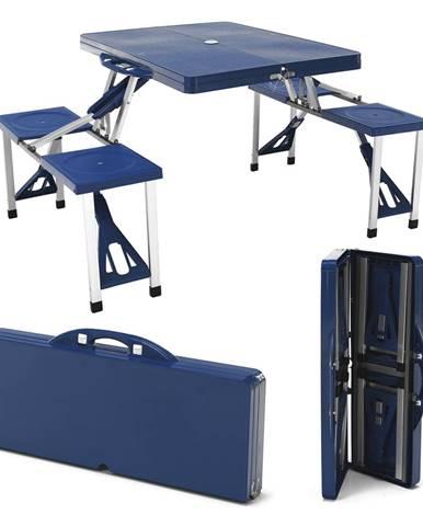 Kempingový skladací kufríkový set 4-miestny modrý HORT