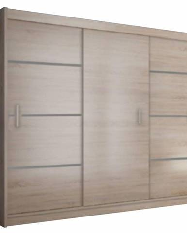 Skriňa s posúvacími dverami dub sonoma/sivá MERINA 250 rozbalený tovar