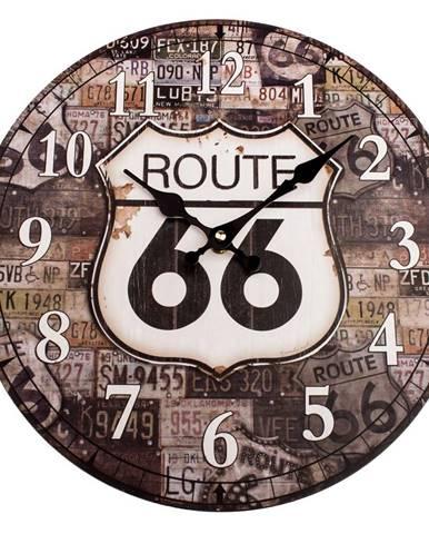 Drevené nástenné hodiny Route 66, pr. 34 cm