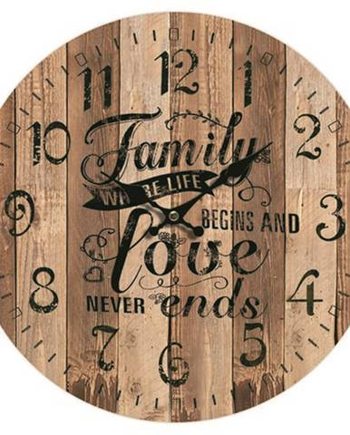 Drevené nástenné hodiny Family love, pr. 34 cm