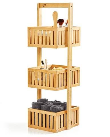 Blumfeldt Premium, regál do sprchy, 27 x 82 x 24 cm, mriežkovaný dizajn, odolný voči vode, bambus