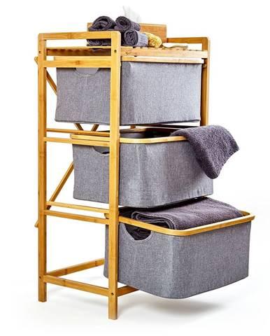 Blumfeldt Regál na bielizeň, 3 zásuvky, 3 úrovne, bambus, bavlna
