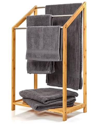 Blumfeldt Vešiak uteráky, 3 kovové tyčky uteráky, 51x86x31cm, schodíkový dizajn, bambus