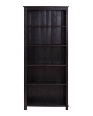 Tmavohnedá knižnica z masívneho borovicového dreva Støraa Pinto