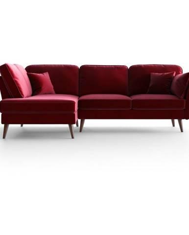 Červená zamatová rohová pohovka My Pop Design Auteuil, levý roh