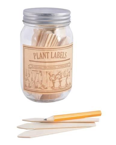 Set pohára a 40 štítkov na bylinky z topoľového dreva Esschert Design Heal, 400 ml