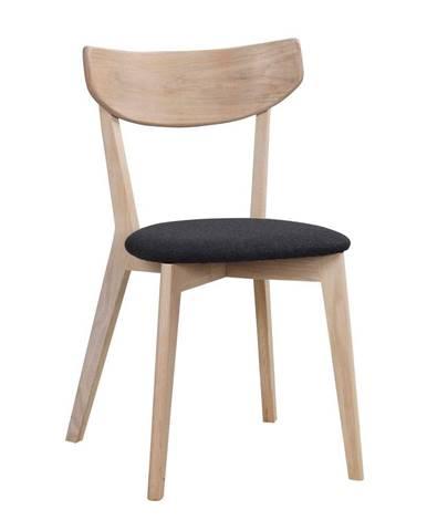 Hnedá dubová jedálenská stolička s tmavosivým sedadlom Rowico Amia