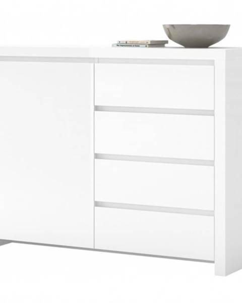 Sconto Komoda LARIO biela vysoký lesk, šírka 113 cm