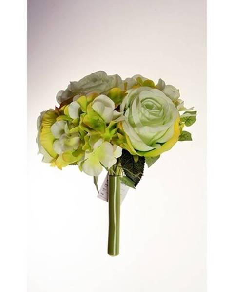 Altom Umelá kytice Ruže s hortenziou zelená, 26 cm