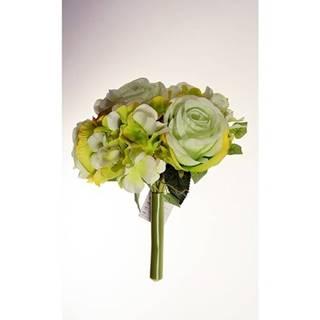 Umelá kytice Ruže s hortenziou zelená, 26 cm